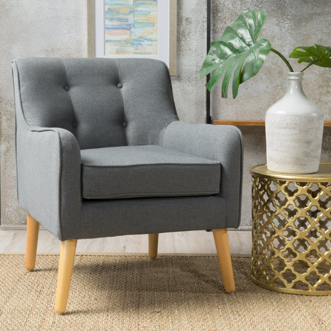 Fontinella Mid Century Tufted Back Fabric Arm Chair