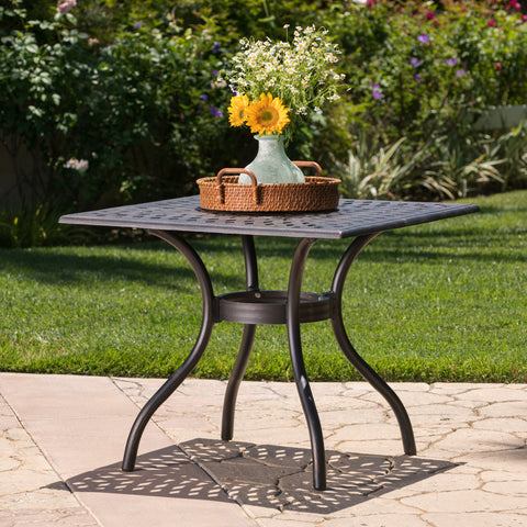 Augusta Outdoor Patina Copper Cast Aluminum Square Dining Table