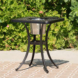 Ariel Outdoor 3 Piece Patina Copper Finish Cast Aluminum Bistro Set