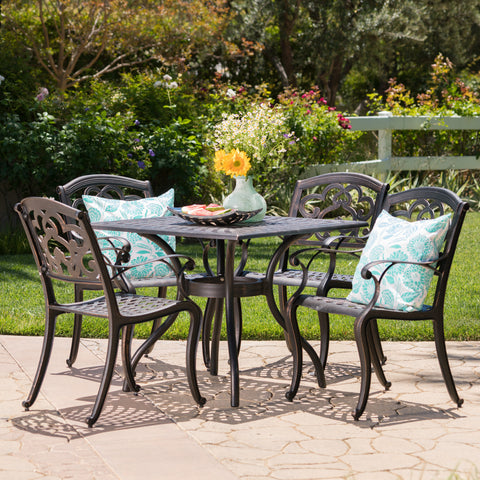 Augusta Outdoor 5Pc Patina Copper Cast Aluminum Dining Set
