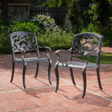 Augusta Outdoor Cast Aluminum Dining Chairs (Set of 2)