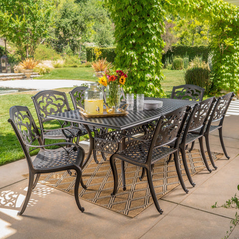 Ariel Outdoor 9 Piece Patina Copper Finish Cast Aluminum Dining Set