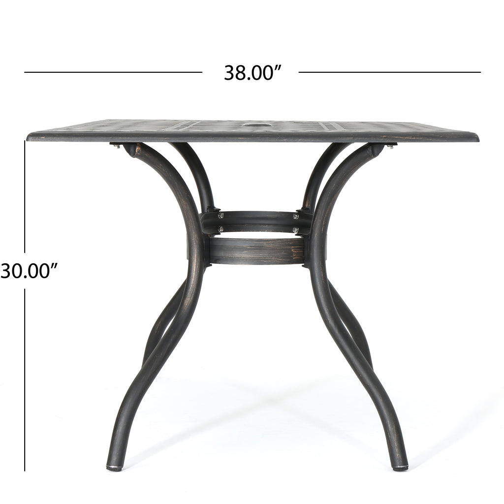Carlton Outdoor Patina Copper Cast Aluminum Dining Table