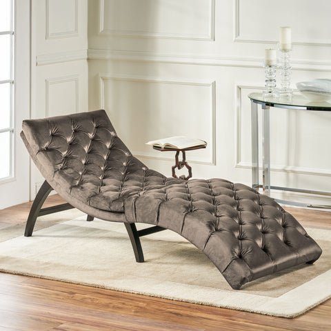 Garamond Tufted New Velvet Chaise Lounge