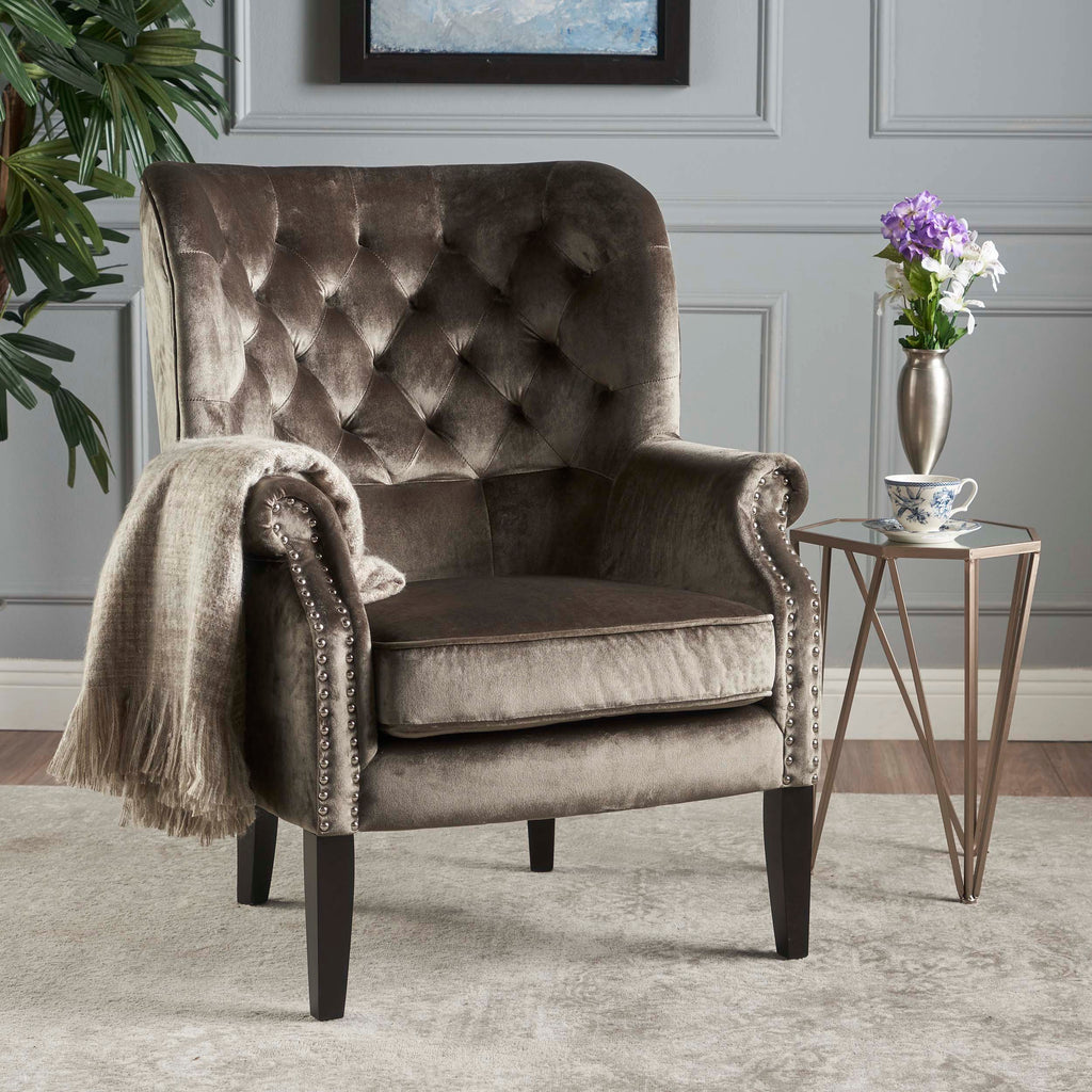 Tommen Tufted Back New Velvet Club Chair