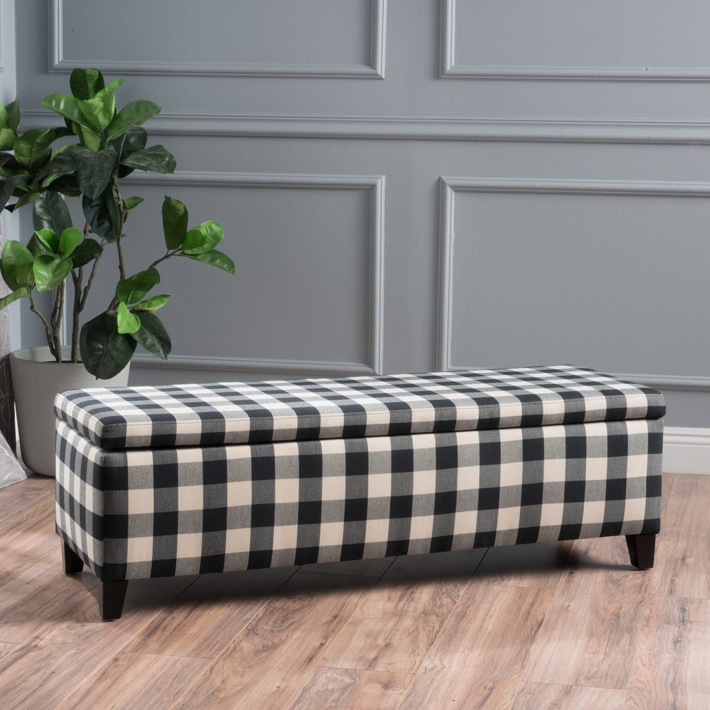 Clor Fabric Rectangle Storage Ottoman Bench