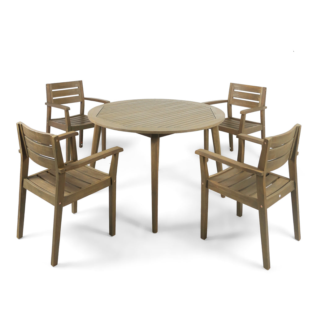 Picture of: Zack Outdoor 5 Piece Acacia Wood Dining Set With Straight Legged Dinin Gdfstudio