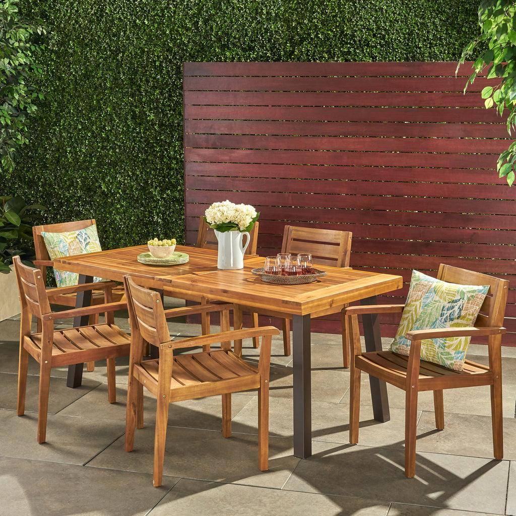 Pomelo Outdoor 7 Piece Teak Finish Acacia Wood Dining Set
