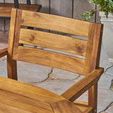 "Stanford Patio Dining Set, 71"" 6-Seater, Oval Table, Acacia Wood with Teak Finish"