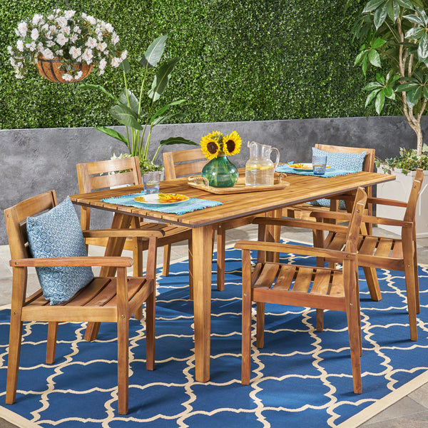 Renee Outdoor 7 Piece Acacia Wood Dining Set, Teak and Dark Brown