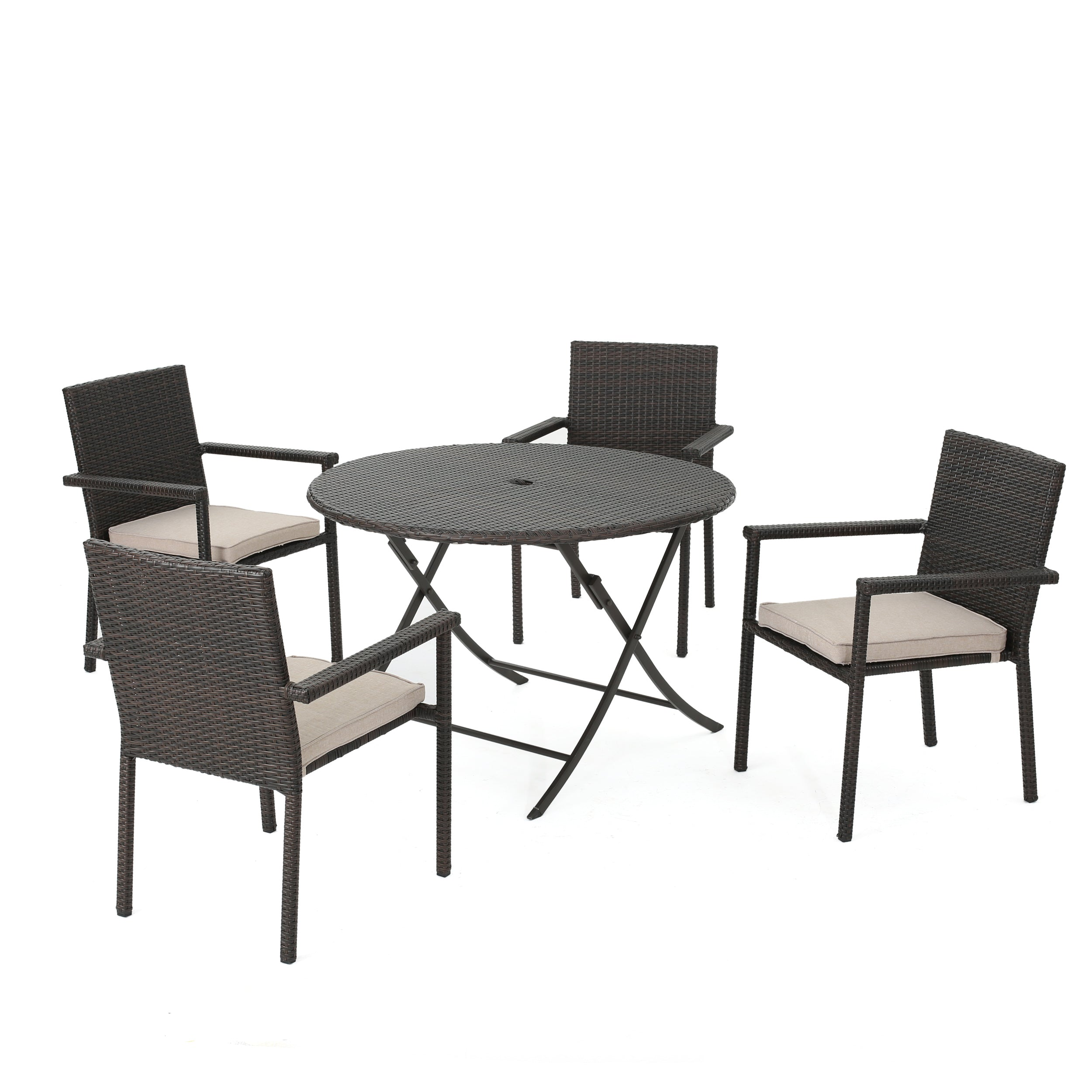 Adelante Outdoor 5 Piece Multi brown Wicker Dining Set with Foldable Table