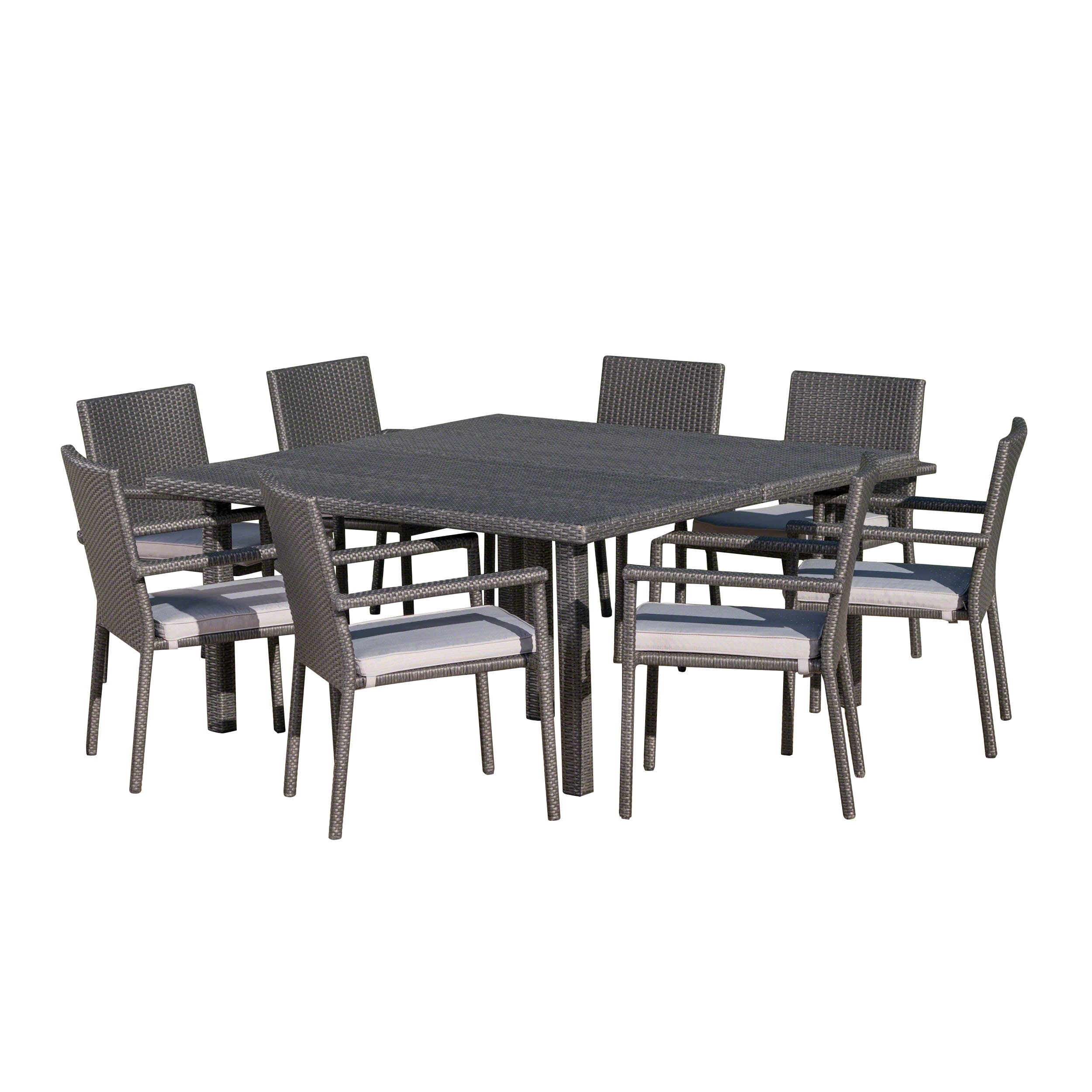 Aden Outdoor 9 Piece Wicker Dining Set with Water Resistant Cushions Multi brownTextured Beige