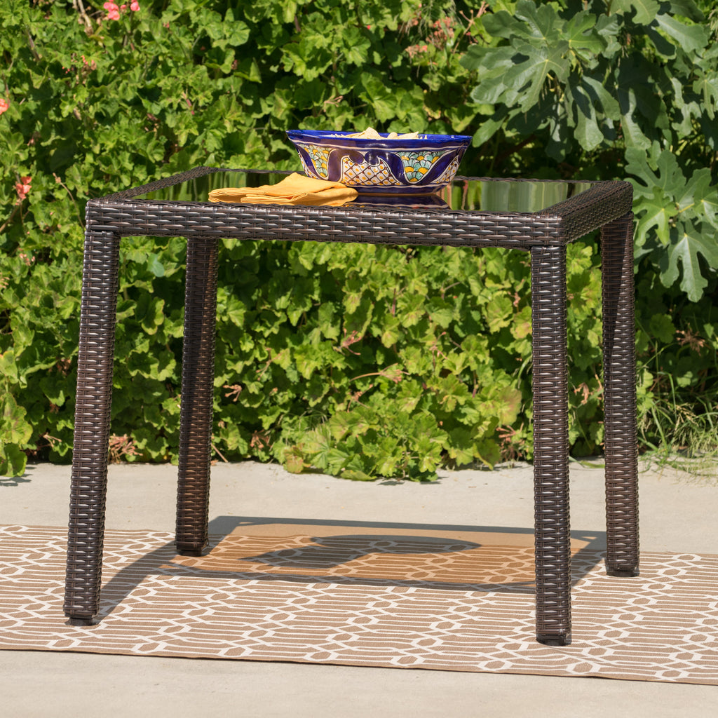 San Tropez Outdoor Wicker Dining Table with Tempered Glass Top
