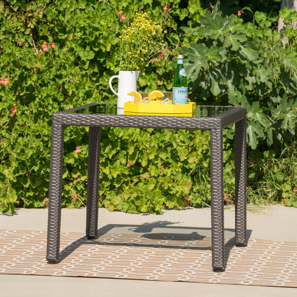 San Tropez Outdoor Wicker Dining Table With Glass Top Gdfstudio