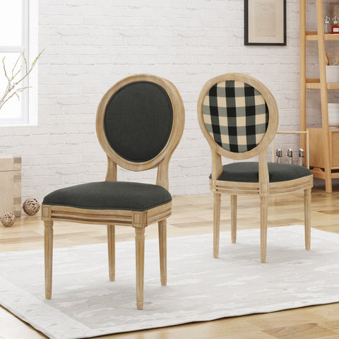 Reed Upholstered French Design Dining Chairs