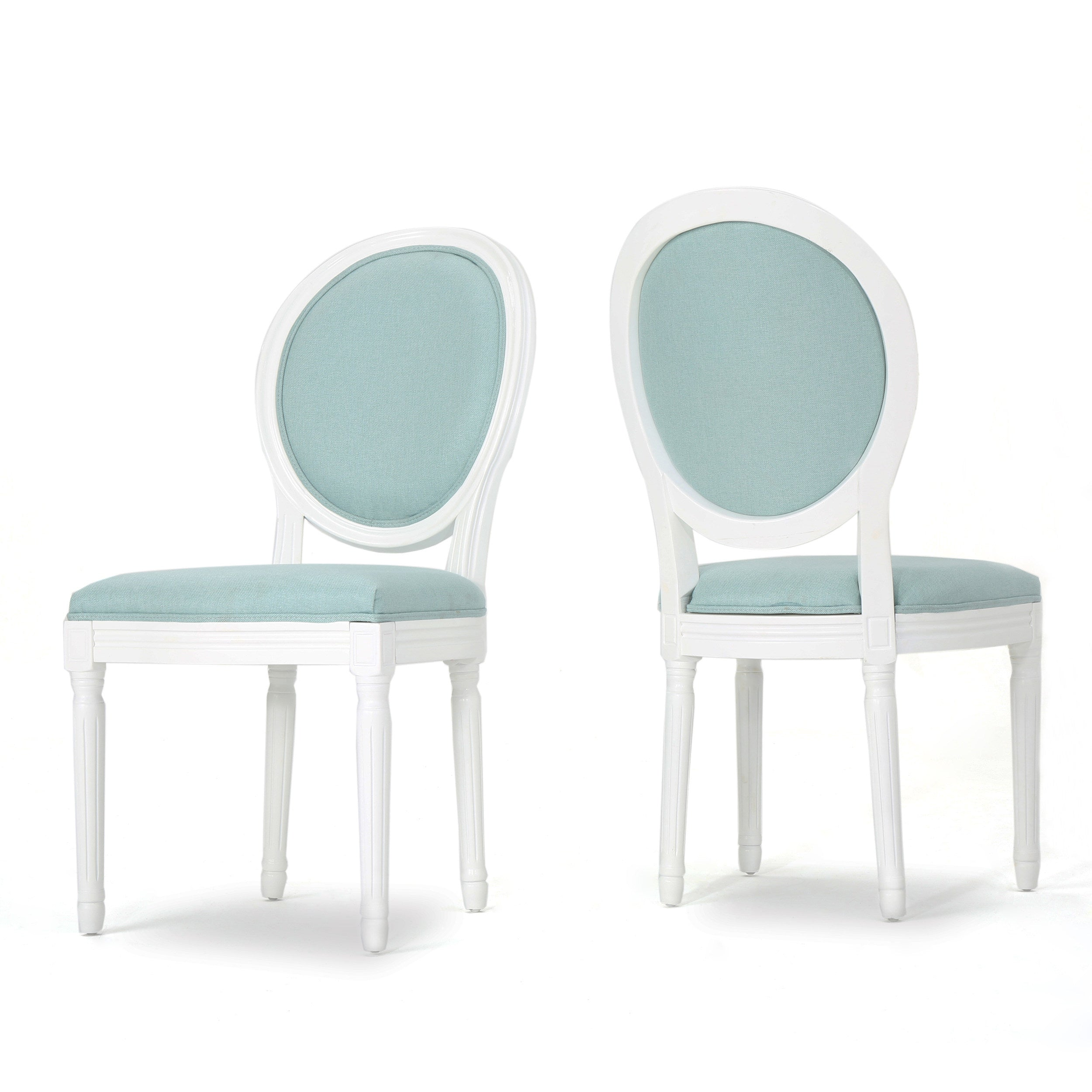 Adelise Traditional Light Blue Upholstered Fabric Dining Chairs Set of 2