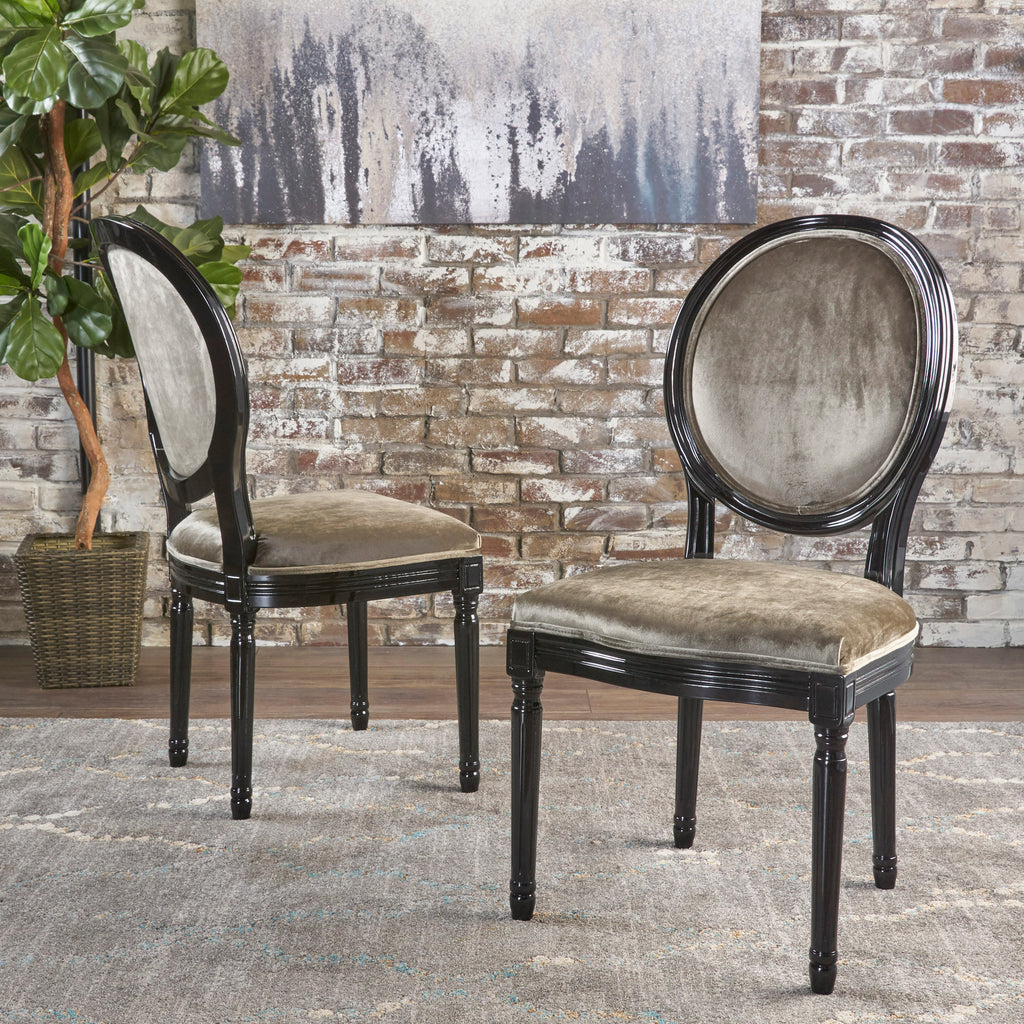 Astonishing Camilla Traditional Grey New Velvet Dining Chairs Set Of 2 Bralicious Painted Fabric Chair Ideas Braliciousco