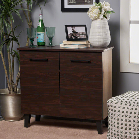 Willson Modern 3-Shelf Walnut Finished Faux Wood Cabinet with Oak Accent