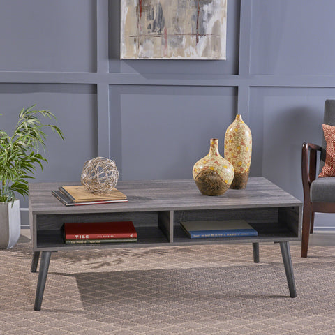 Savone Mid Century Modern Faux Wood Overlay Coffee Table