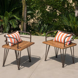 Avy Outdoor Rustic Industrial Acacia Wood Chairs with Metal Hairpin Legs (Set of 2), Teak
