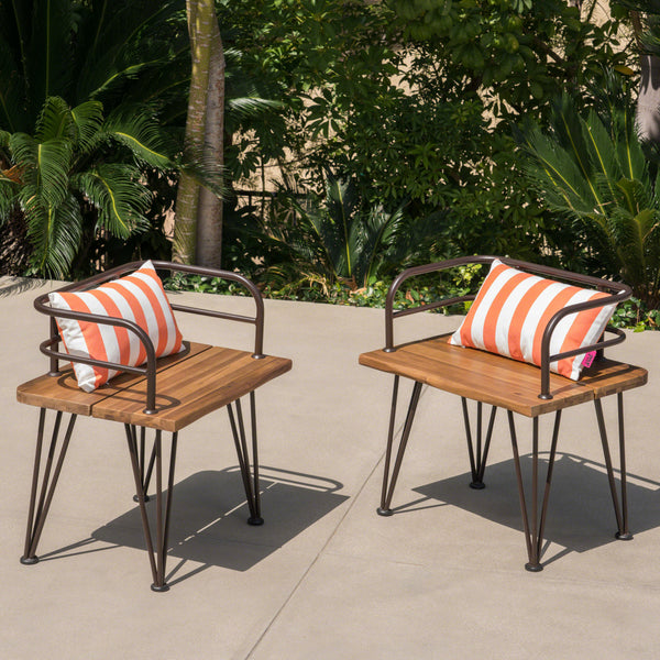 Zach Outdoor Industrial Teak Finish Acacia Wood Chairs