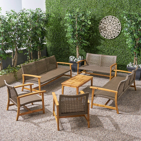 Alyssa Outdoor 6 Piece Sofa and Loveseat Chat Set