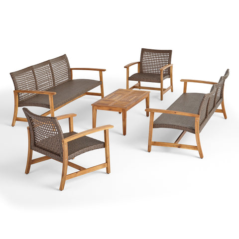 Alyssa Outdoor 5 Piece Wood and Wicker Sofa Chat Set