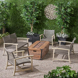 Levant Outdoor 4 Piece Wood and Wicker Chat Set with Fire Pit