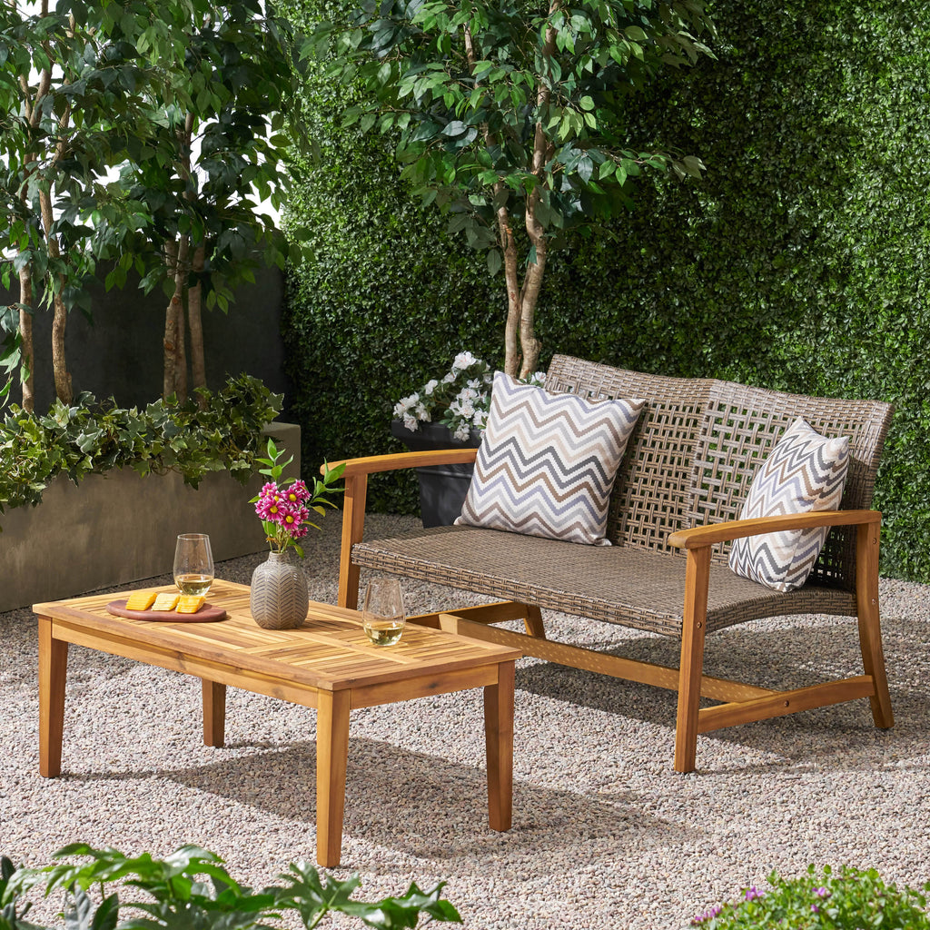 Pleasing Spring Spender Outdoor Wood And Wicker Loveseat And Coffee Table Set Evergreenethics Interior Chair Design Evergreenethicsorg