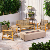 Tabby Outdoor 5 Piece Wood and Wicker Chat Set with Fire Pit