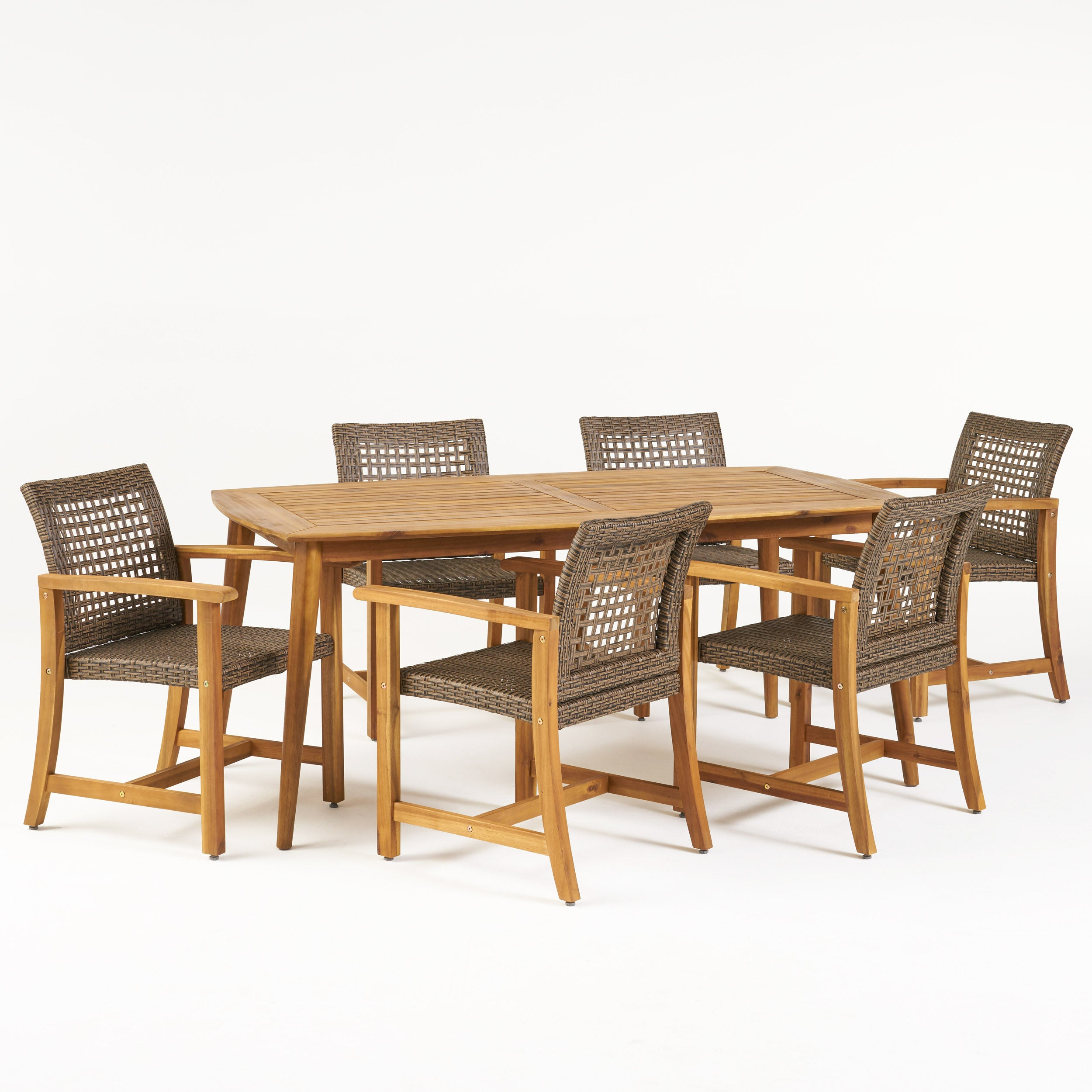 Alian Outdoor 6 Seater Acacia Wood Dining Set Default Title