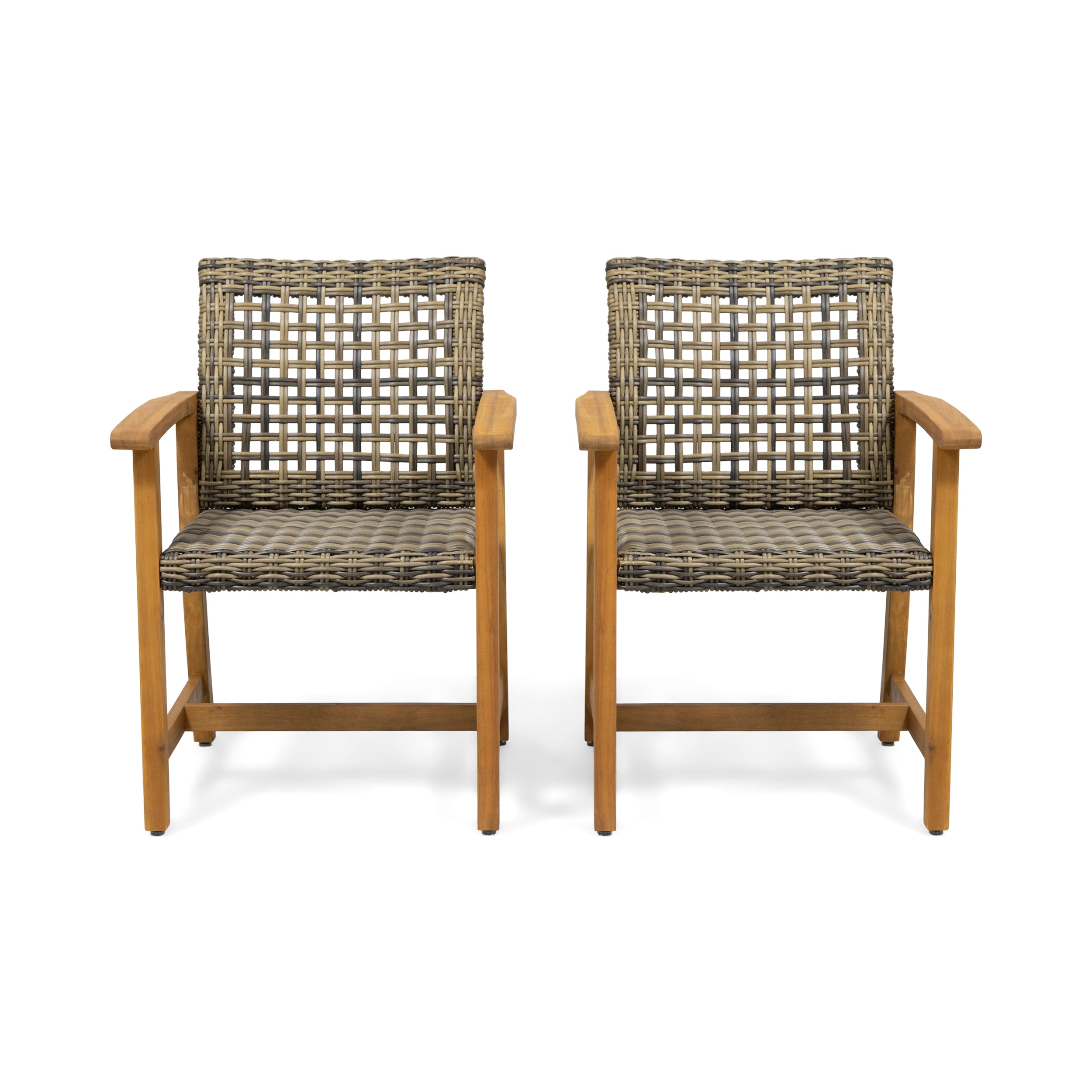 Alyssa Outdoor Acacia Wood and Wicker Dining Chair Set of 2 Light Gray Wash Mix Black