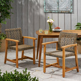 Alyssa Outdoor Acacia Wood and Wicker Dining Chair (Set of 2)