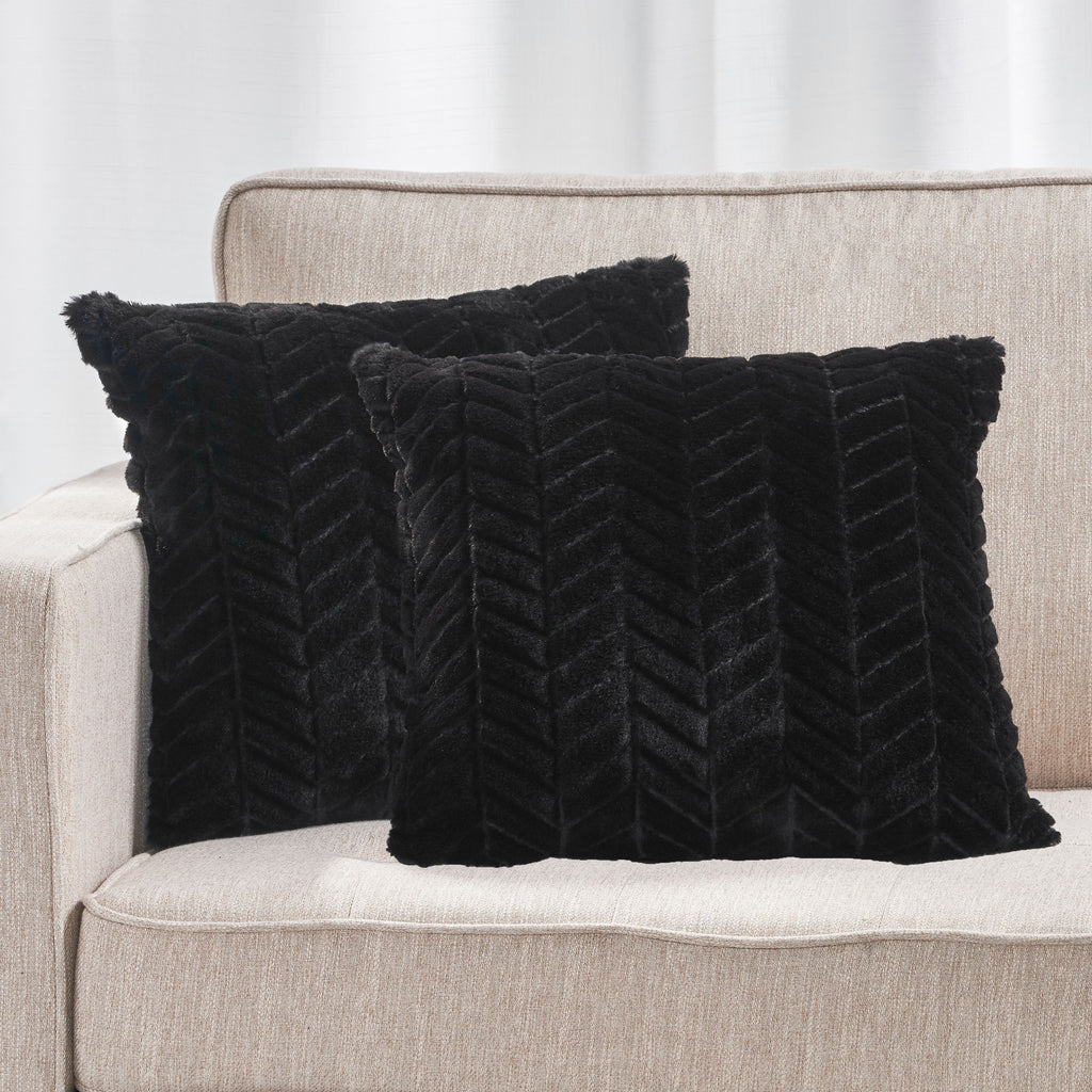 Ellison Modern Glam Faux Fur Throw Pillow