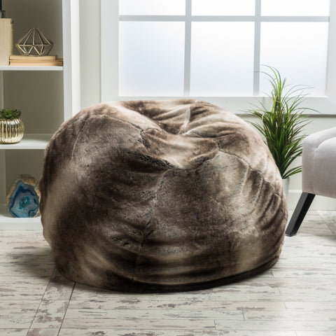 Meridian Modern Glam Round Faux Fur Fabric Bean Bag