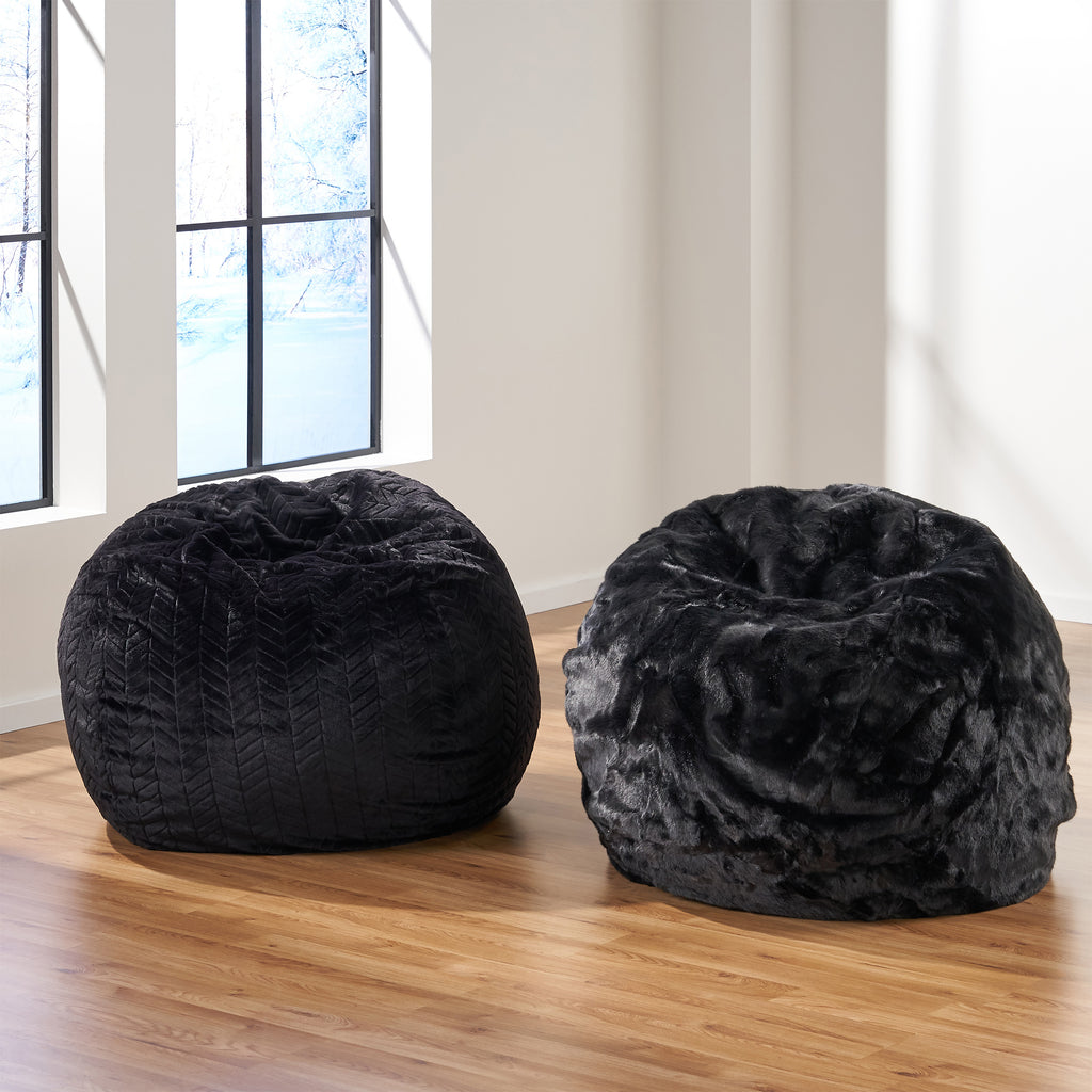 Kloee Modern 3 Foot Faux Fur Bean Bag (Cover Only)