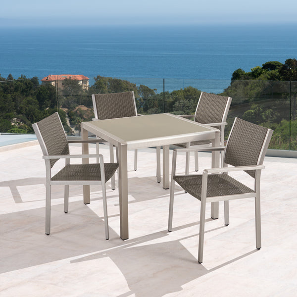 Julia Patio Dining Set - 4-Seater - Anodized Aluminum - Wicker Seats