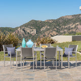 Coral Bay Outdoor 7Pc Grey Aluminum Dining Set w/ Glass Table Top
