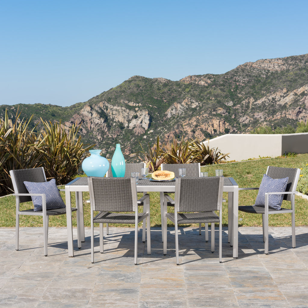 Coral Bay Outdoor 7Pc Aluminum Dining Set w/ Wicker Top