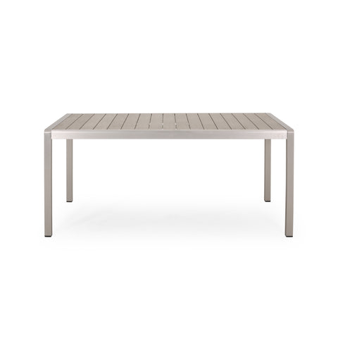 Cherie Outdoor Modern Aluminum Dining Table with Faux Wood Table Top