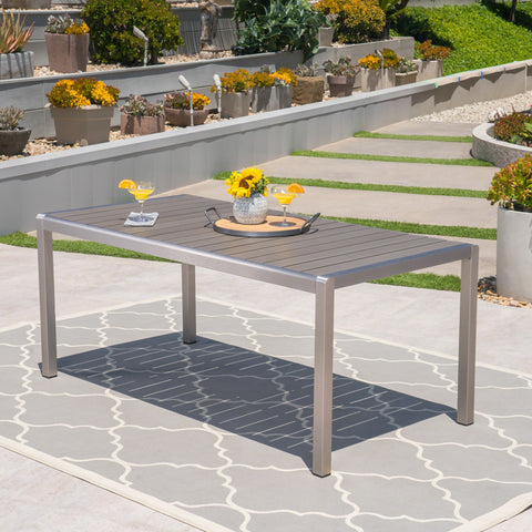 Coral Outdoor Aluminum Dining Table with Faux Wood Top, Gray Finish
