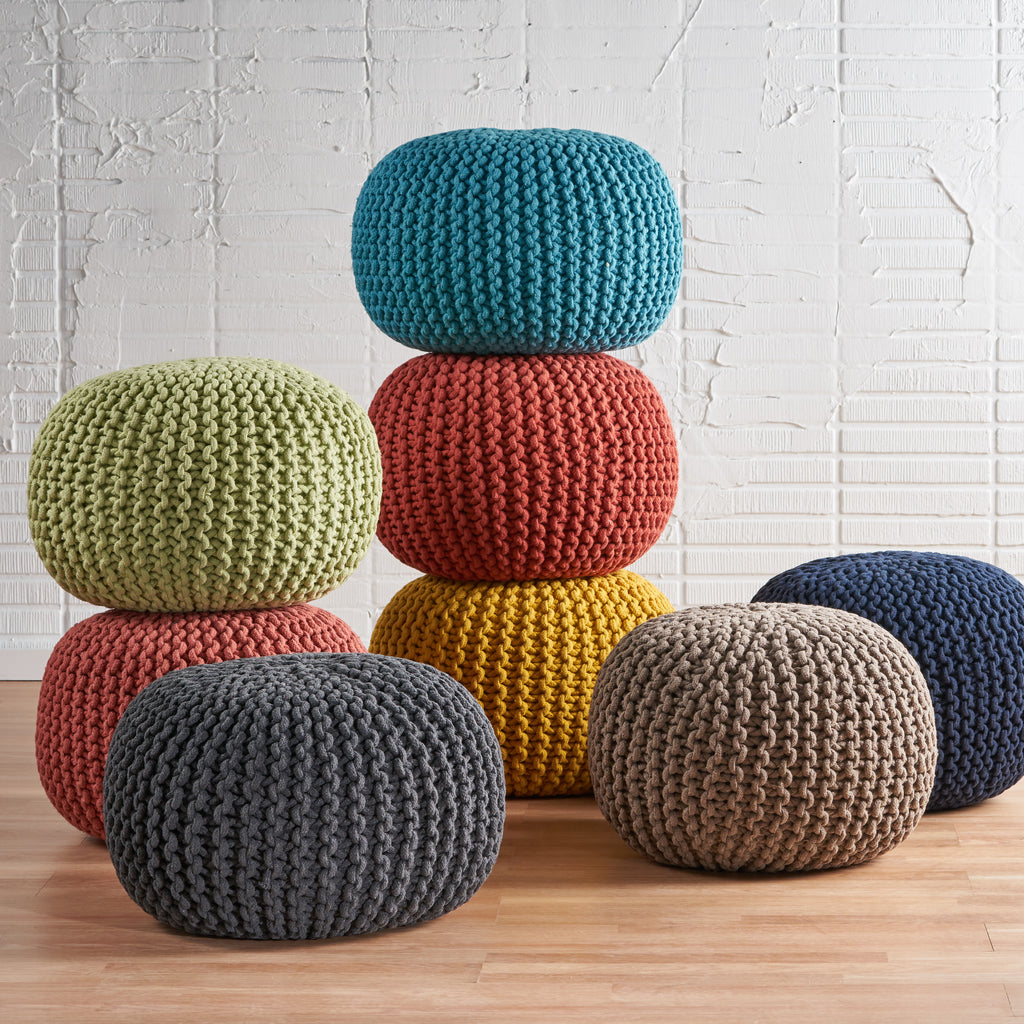 Poona Hand Knitted Artisan Pouf