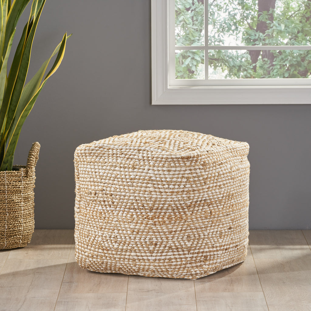 Maja Hand-Crafted Boho Fabric Cube Pouf
