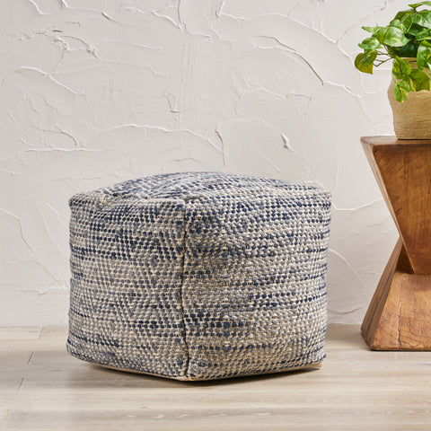 Bixby Boho Artisan Hand Woven Diamond Ivory and Blue Wool Cube Pouf