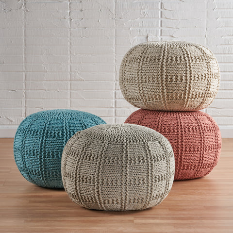 Valentine Intricate Hand Knit Fabric Pouf