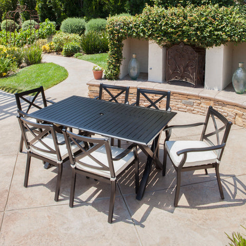 Eowyn Expandable 7-9 Piece Outdoor Cast Aluminum Dining Set w/ Umbrella Hole