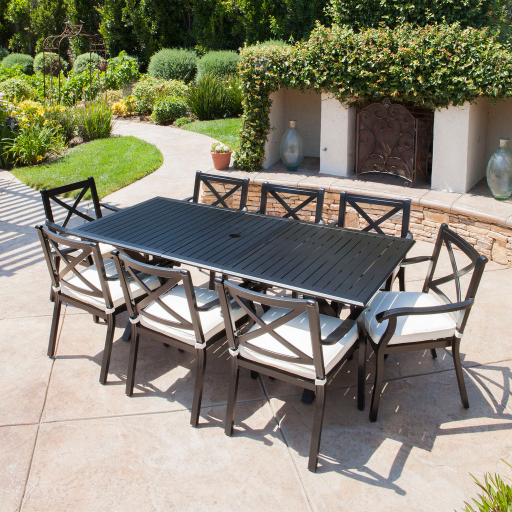 Eowyn 9 Piece Cast Aluminum Outdoor Dining Set With