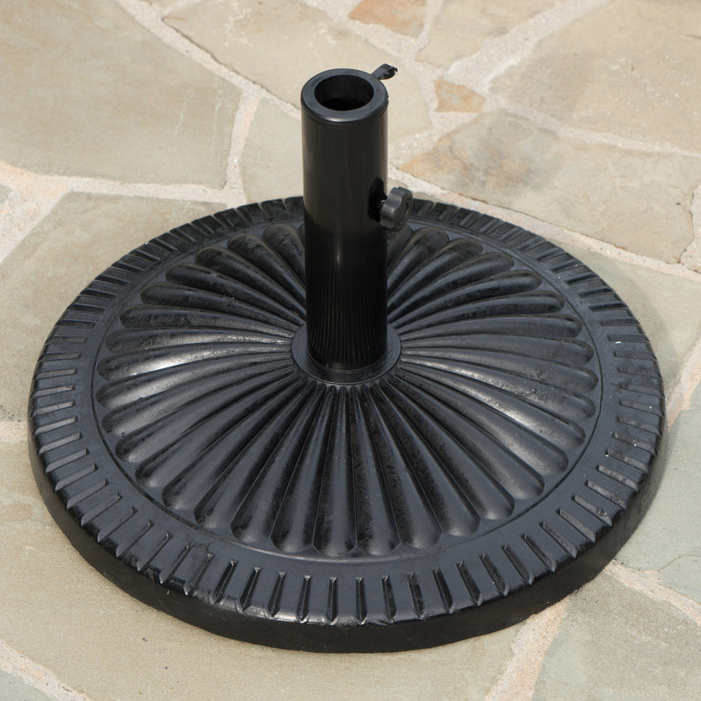 Seymour Outdoor Black Resin and Steel Umbrella Base