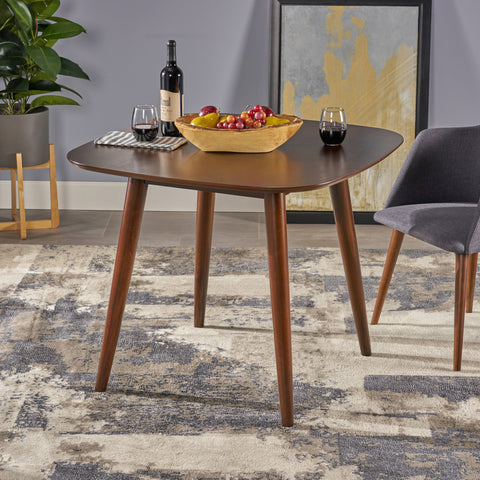 Bass Mid Century Modern Square Faux Wood Dining Table