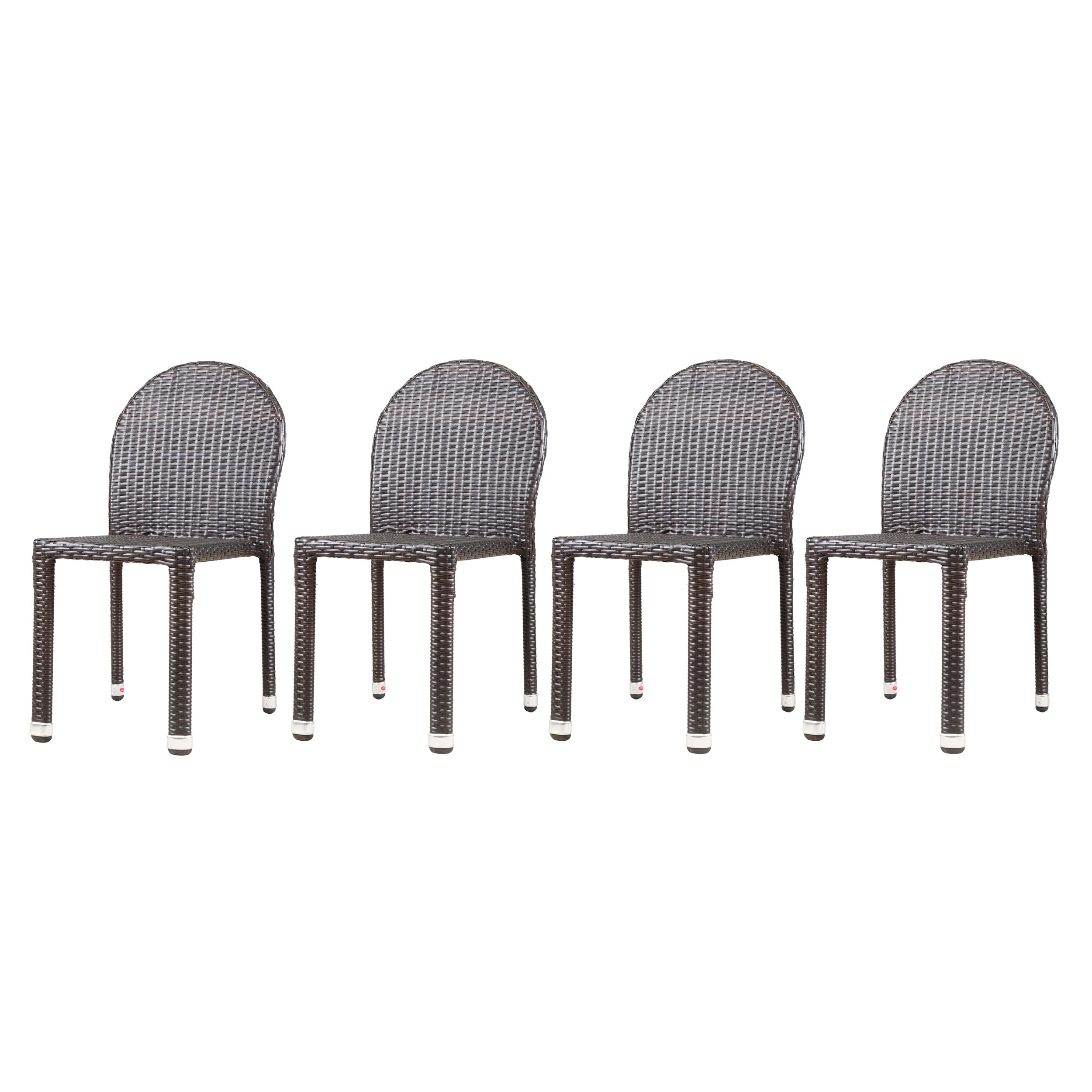 Amallie Outdoor Wicker Stacking Chairs with an Aluminum Frame Set of 4 Multi brown